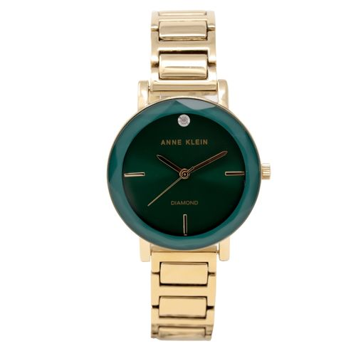 Reloj análogo metálico dorado con verde para dama