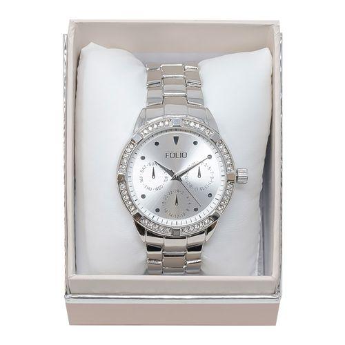 Reloj análogo metálico plateado crono para dama
