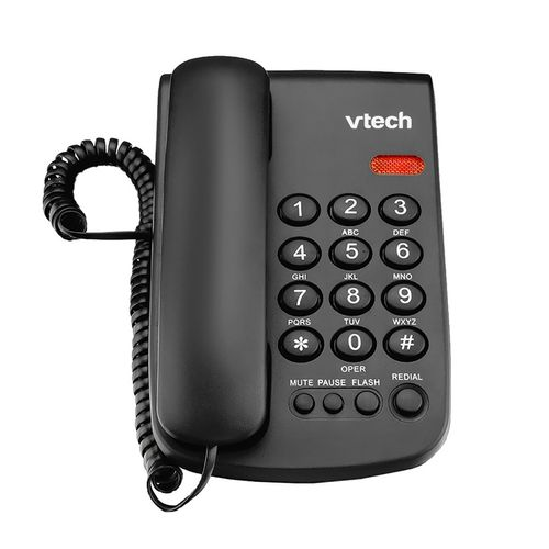 Teléfono alámbrico negro