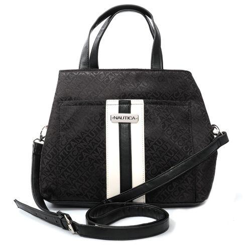 Cartera satchel black logo jacquard