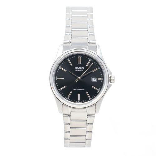 Reloj analogo metalico plateado c/ negro para dama