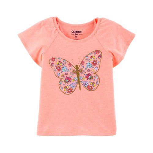 Blusa m/c rosada con estampado de mariposa niña