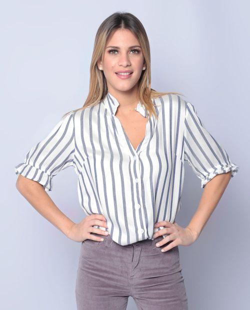 Blusa mc botones c/ revuelo rayada  blanco/azul 2490
