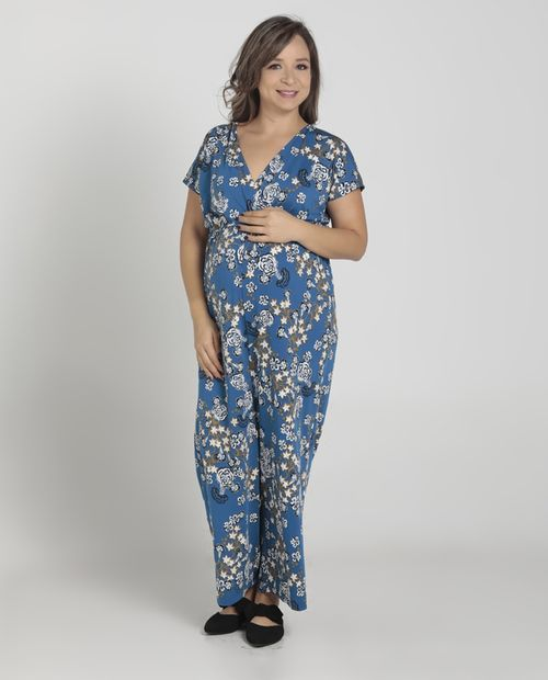 Jumpsuit flores blue on navy