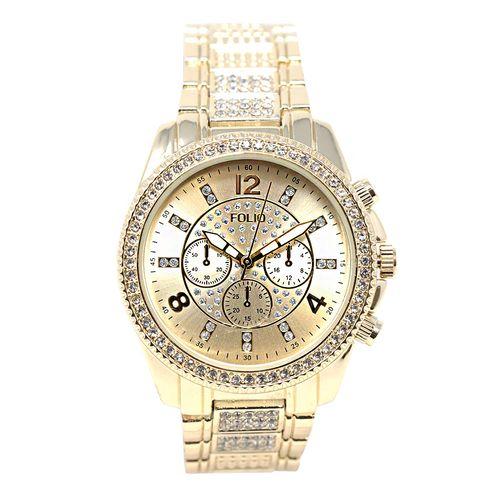Reloj análogo crono metálico dorado para dama