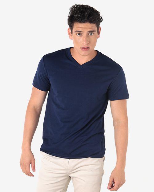 Camiseta cuello v azul marinero