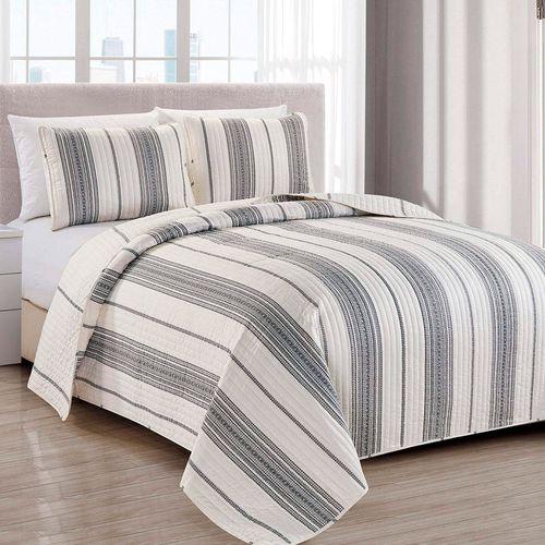 Cubrecama 3pc - king wesley stripe gris