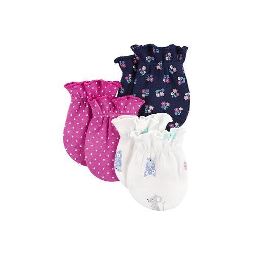 3pk guantecitos blancos rosados y azules para bebé