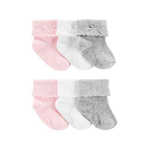 6pk calcetines blancos rosados y grises para bebé niña
