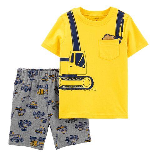 2pzs conjunto camisa amarilla y short gris para bebé niño