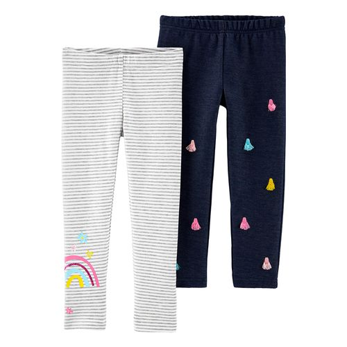 2pk leggings grayadas y navy para bebé niña