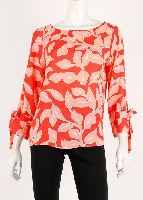 Blusa  est. roja tunica m 3/4 con laza cuello redondo