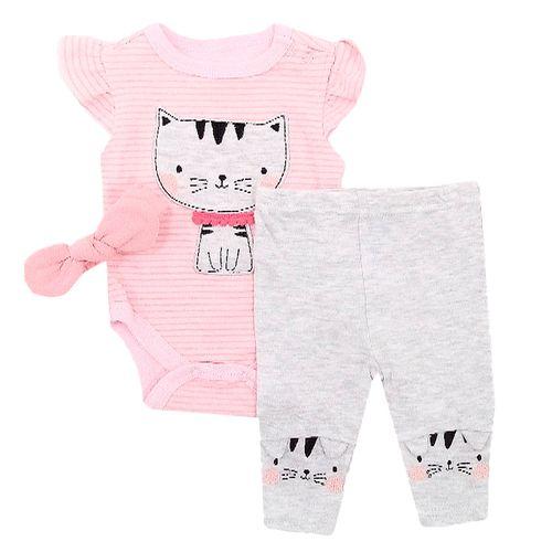3 pzs mameluco rosado de gatito pantalón y bincha