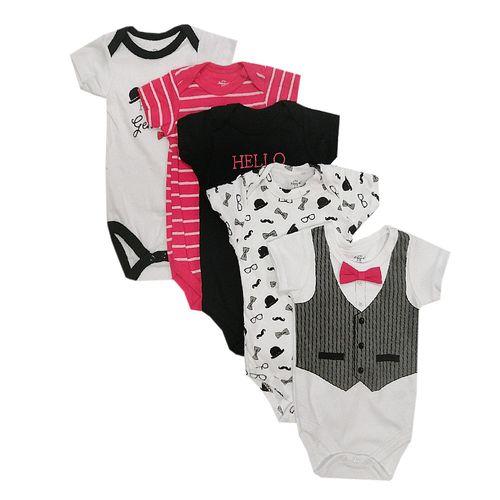 5pk mamelucos blancos y celestes de handsome para bebé niño