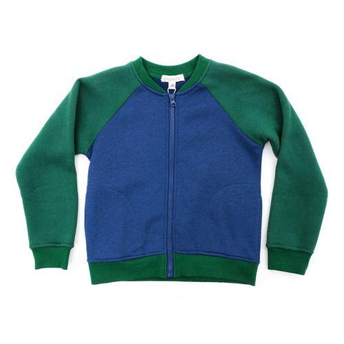 Sueter con zipper colorblock verde con royal blue