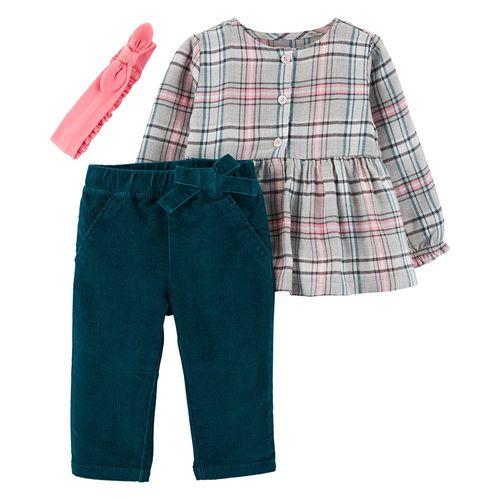 Conjunto 3 pzs niña blusa m/l rayada jeans y vincha rosada