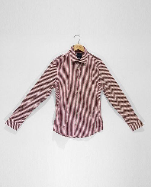Camisa manga larga a rayas white