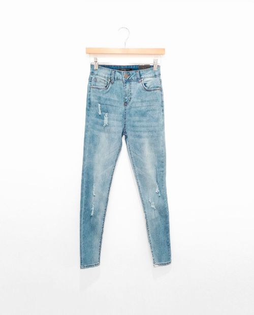 Jeans high rise lt wash skinny rotos