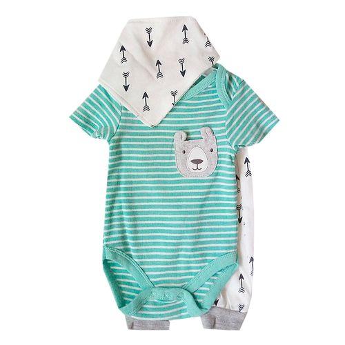 3 piezas mameluco rayado pants y babero para bebé