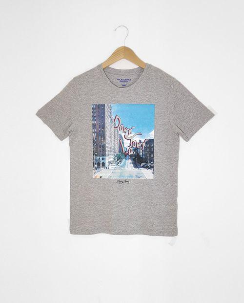 Camiseta male knit co100 light grey melange