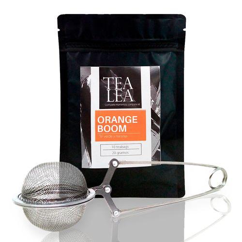 Kit moderna orange bloom infusor + 1 oz de te en hoja suelta