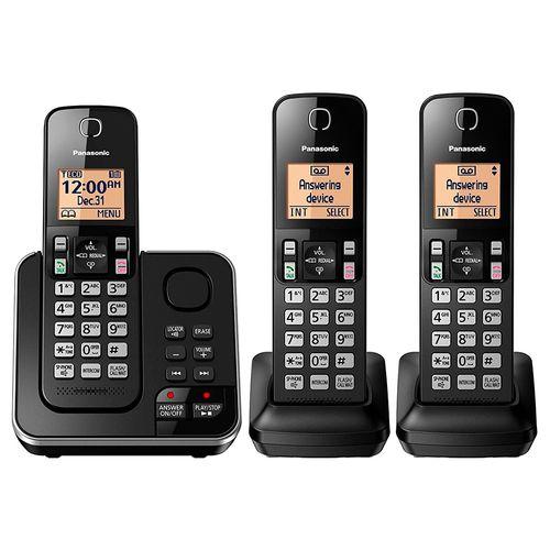Teléfono digital con 3 auriculares negro