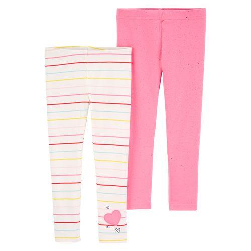2pk legging rosada y blanca para nina