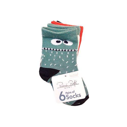 6piezas calcetines niño gris ocre y azul con estampado de monstruito 12-24m