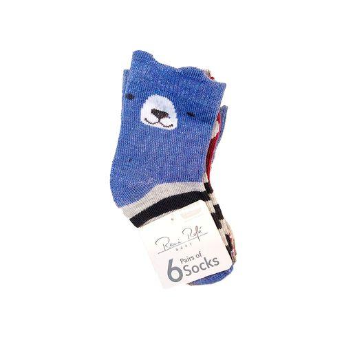 6piezas calcetines niños azul beige y ocre con estampado de animalitos 12-24m