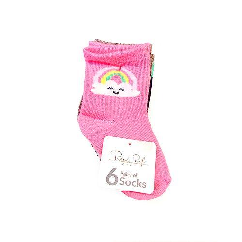 6 pack calcetines niña multicolor de arcoíris nubes y estrellas 12-24m