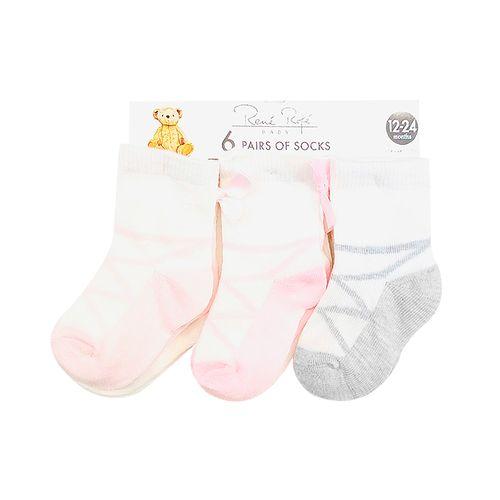6pack calcetines niña rosado y gris con estampado de zapatillas de ballet 12-24m