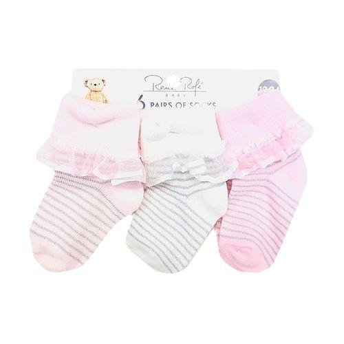 6pk calcetines niña rosado y blanco 12-24m