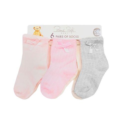 6 pack calcetines niña rosados con chonguita
