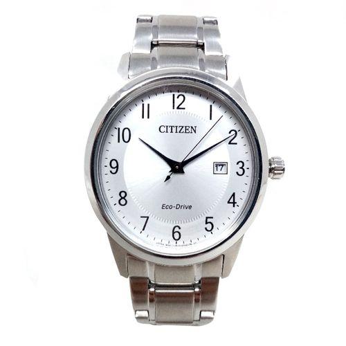 Reloj  citizen eco drive plateado analogo cab.