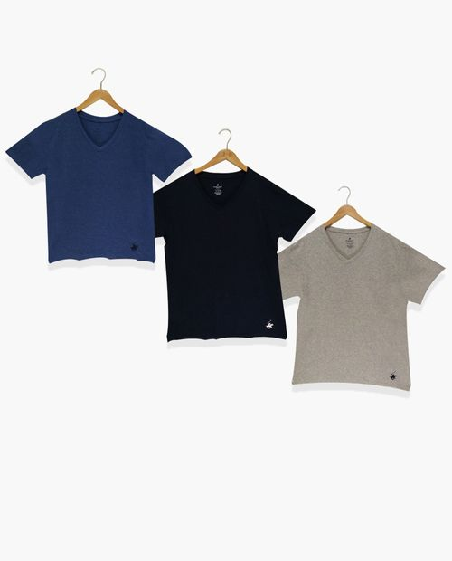 3pk camiseta cuello v blue