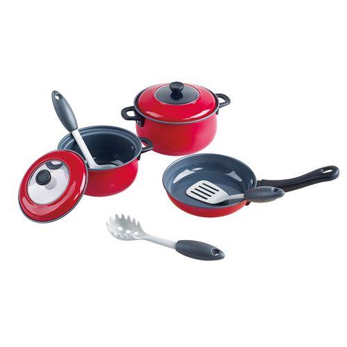 Coloured tin - red  - 8 pcs (metal cookware)