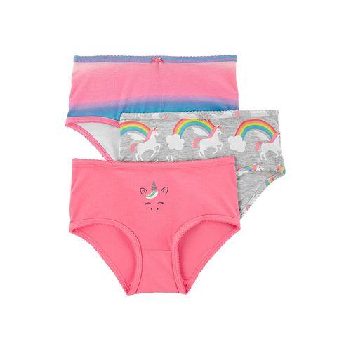 3pk panties de colores y unicornios para niña