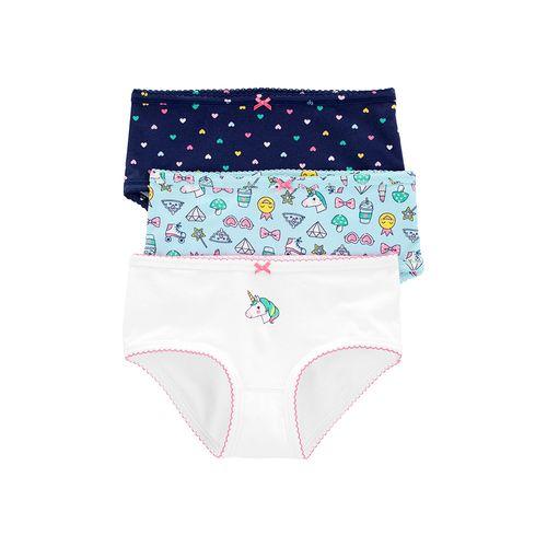 3pk panties azul blanco y celeste de unicornio para niña