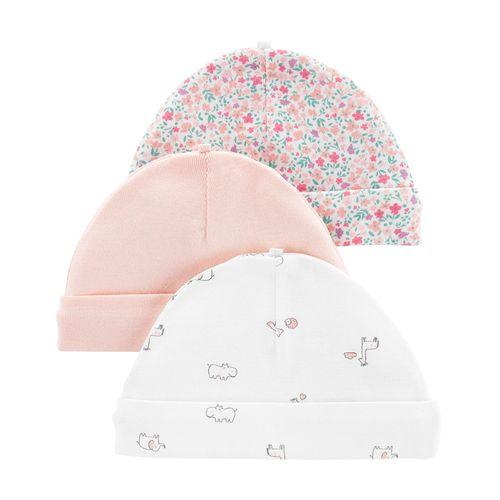 3pk gorritos niña rosado floreado y de jirafa