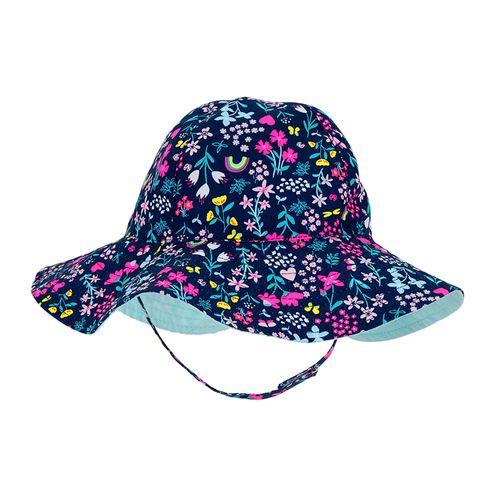 Sombrero navy floreado playero para bebé niña