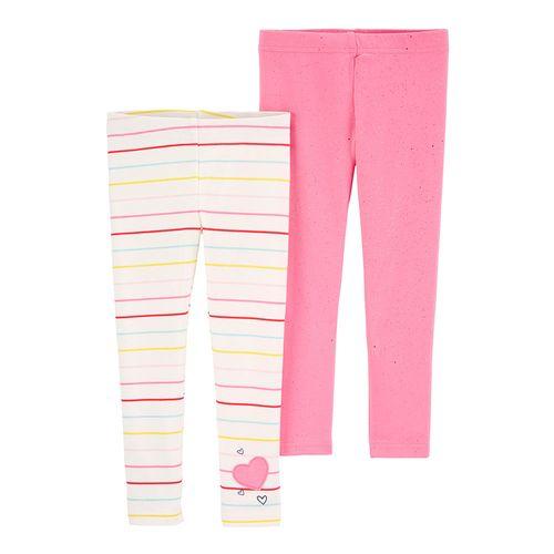 2pl leeging rosadas y blanca para bebé niña