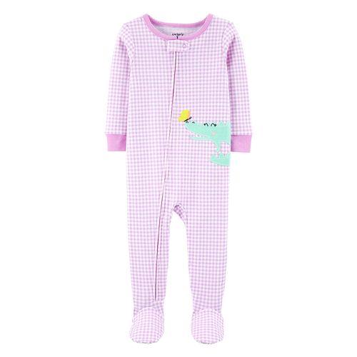 Pijama con piecitos morada de cocodrilo para bebé niña