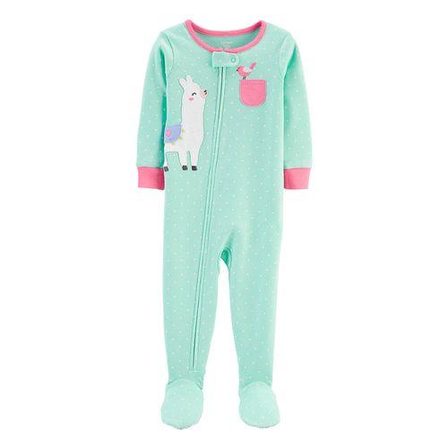 Pijama con piecitos aqua de llama para niña
