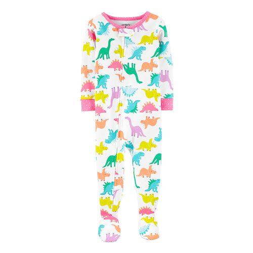Pijama con piecitos blanca y rosada de dinos para niña