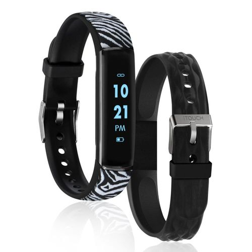 Reloj digital slim negro/zebra banda intercambiable