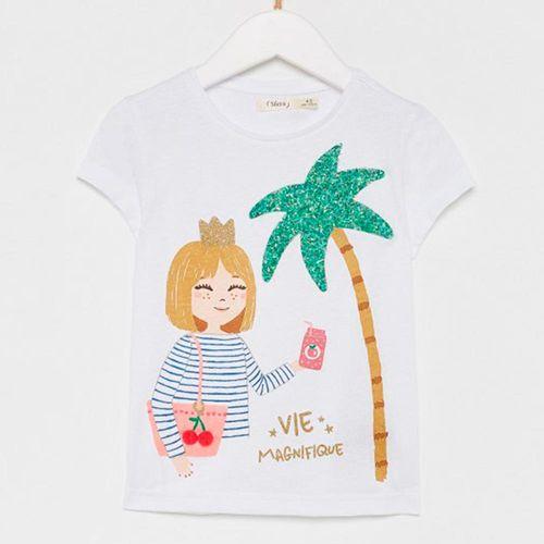 Blusa m/c blanca con estampado de niña y palmera