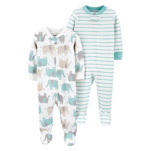 2pk pijamas de piecietos rayadas y de elefante para bebé niño
