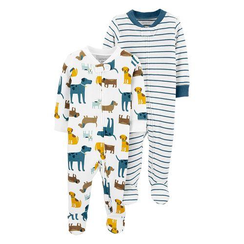 2 piezas pijamas de piecitos rayadas y de animalitos para bebé niño
