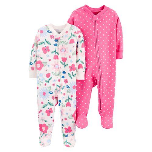 2 pack pijamas de piecitos rosada con puntitos y pijama floreada para bebé niña