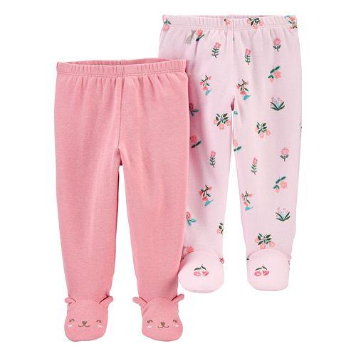 2pants  con piecitos rosados estampados para bebé niña